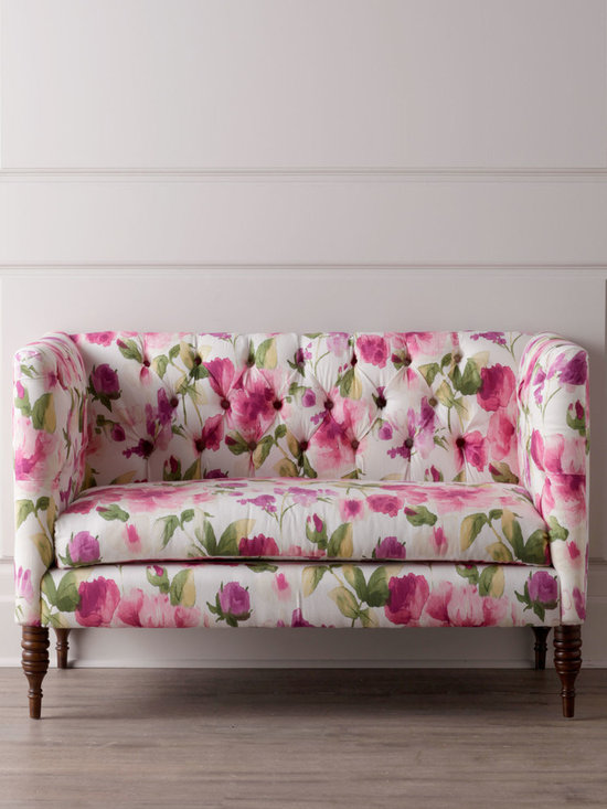 Horchow - Floral Settee - Feminine and flirty, this petite settee brings fashionable charm as well as comfortable seating to the room with its overall vibrant floral motif and diamond tufting. Handcrafted. Pine frame with espresso finish on the legs. Linen upholstery. Plush....