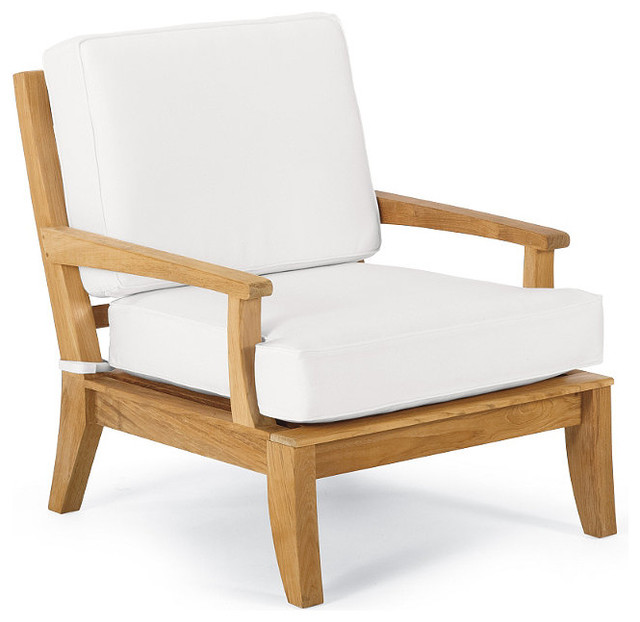 Melbourne Outdoor Lounge Chair with Cushions, Patio Furniture traditional-outdoor-lounge-chairs