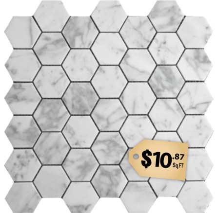 $10.87SF Carrara Hexagon 2 Carrera Marble Mosaic Tile  floor tiles