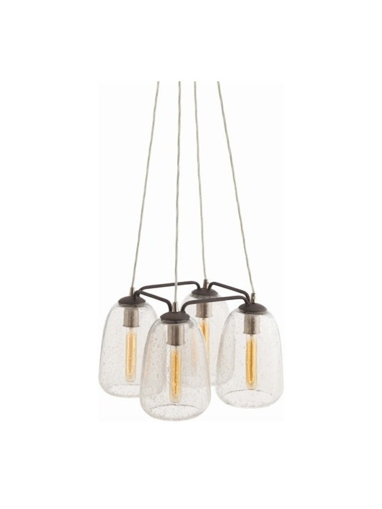 Arteriors Ving 4 Light Iron/Glass Pendant - Ving 4 Light Iron/Glass Pendant