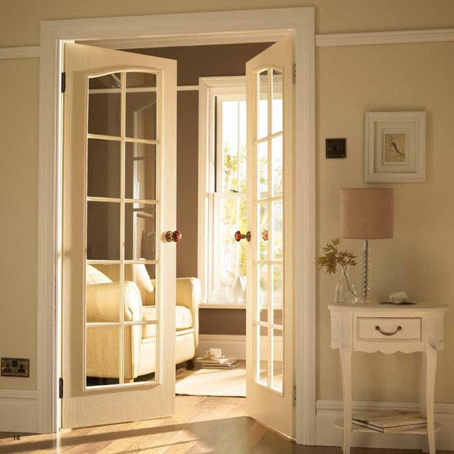 White Double French Doors Of French Door To Tv Room Traditional Interior Doors