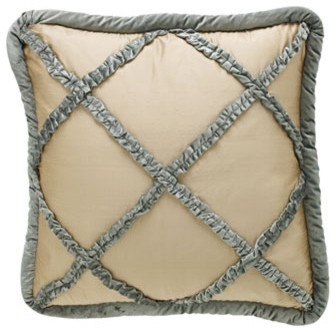 Dian Austin Couture Home Villa di Como Bed Linens Ruffled Velvet Lattice/Silk Do traditional bed pillows
