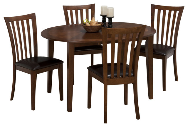 Jofran bowser birch 42 inch casual round to oval table w for 42 dining table with leaf