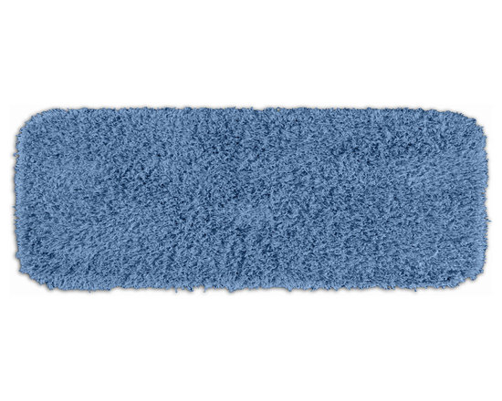 "Sands Rug - Quincy Super Shaggy Cool Blue Washable Runner Bath Rug (1'10"" x 5') - Jazz up your bathroom, shower room, or spa with a bright note of color while adding comfort you can sink your toes into with the Quincy Super Shaggy bathroom collection. Each piece, whether a bath runner, bath mat or contoured rug, is created from soft, durable, machine-washable nylon. Floor rugs are backed with skid-resistant latex for safety."