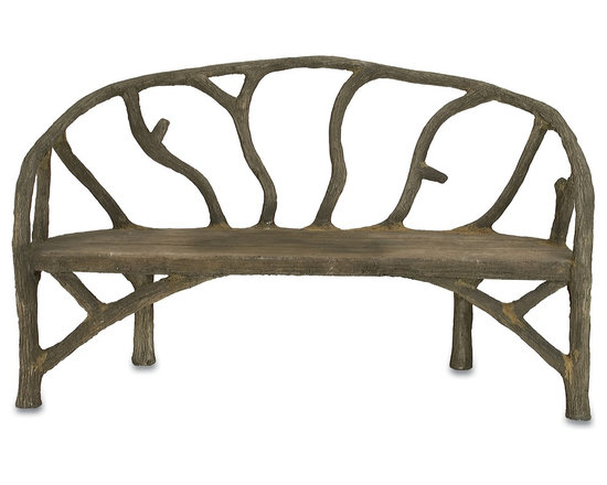 Currey & Company - Arbor Bench - Steel framework covered with concrete is sculpted to look like tree branches in this unique bench. The bench is created the old fashioned way by hand-applying concrete over a metal frame. This rustic style is organic that moves with ease either outdoors or inside.