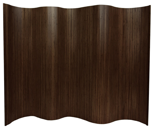 6 ft. Tall Bamboo Wave Screen - Dark Mocha - Modern - Screens And Room Dividers - by Oriental ...