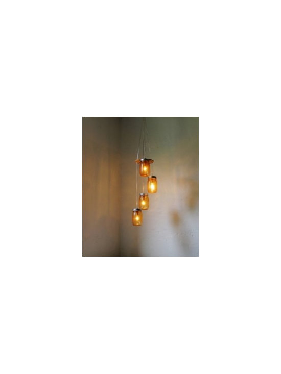 Eco Friendly Furnture and Lighting - Our handcrafted chandeliers are a beautiful and fun way to upcycle the ubiquitous mason jar! This colorful staggered swag style chandelier would fit nicely in any room or on the porch or patio! This chandelier is ready to hang by hooks and plug into any outlet. The light can be set above the table or island or in the corner of any room.