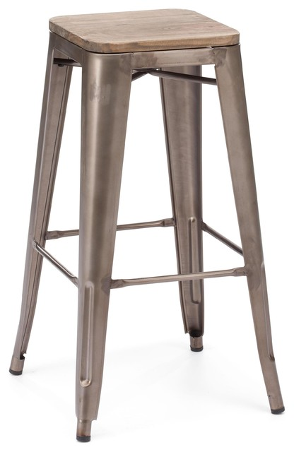 Amalfi Stackable Rustic Matte Elm Wood Seat Steel Barstool  : industrial bar stools and counter stools from www.houzz.com size 416 x 640 jpeg 35kB
