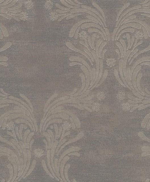 Caesar Damask Wallpaper Gold Dark Grey Traditional