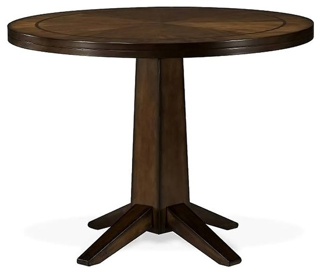 48 Inch Round Pedestal Table In Wood Veneer Transitional Dining Tables
