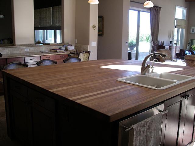 White Oak Wood Countertop in Las Vegas traditional-kitchen-countertops