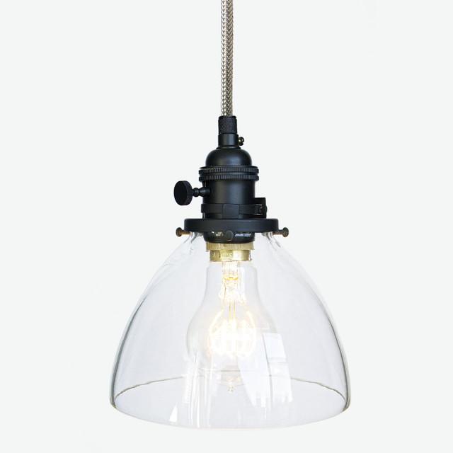 handblown glass stainless steel cord pendant light