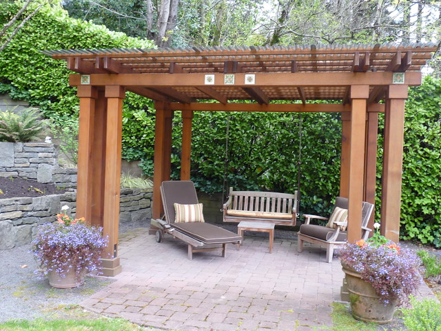 Pergola Cedar And Polycarbonate Roofing Traditional