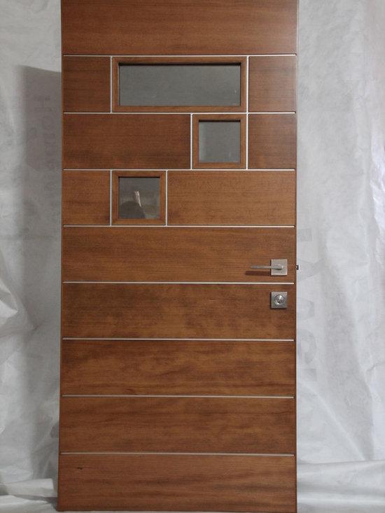 River City Woodworks in Fernie BC - Modern Doors - Verticle Grain Douglas Fir and Aluminum with Emtek Hardware
