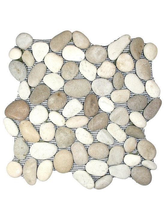 """CNK Tile - Java Tan and White Pebble Tile - Each pebble is carefully selected and hand-sorted according to color, size and shape in order to ensure the highest quality pebble tile available.  The stones are attached to a sturdy mesh backing using non-toxic, environmentally safe glue.  Because of the unique pattern in which our tile is created they fit together seamlessly when installed so you can't tell where one tile ends and the next begins!     Usage:    Shower floor, bathroom floor, general flooring, backsplashes, swimming pools, patios, fireplaces and more.  Interior & exterior. Commercial & residential.     Details:    Sheet Backing: Mesh   Sheet Dimensions: 12"""" x 12""""   Pebble size: Approx 3/4"""" to 2 1/2""""   Thickness: Approx 1/2""""   Finish: Natural Tan and White"""