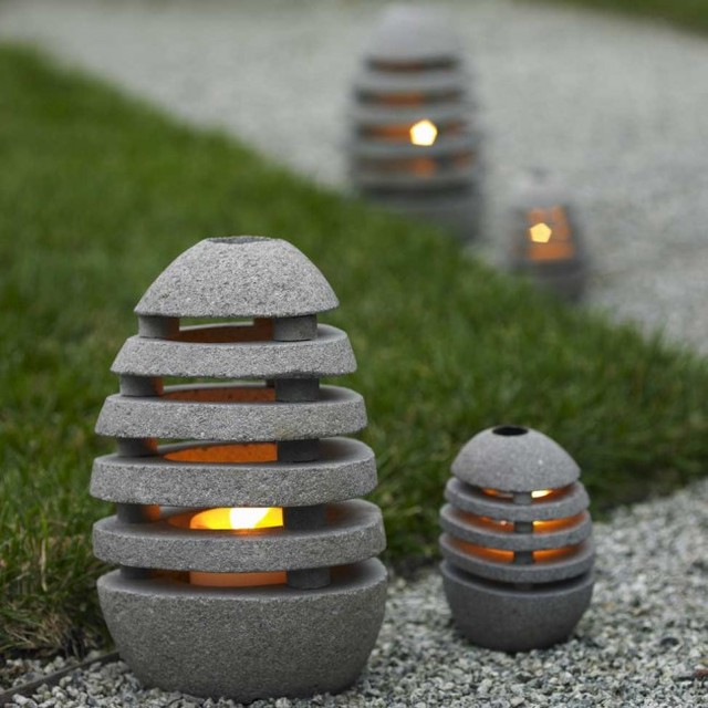 Stone Egg Candle Lanterns - VivaTerra contemporary-outdoor-lighting