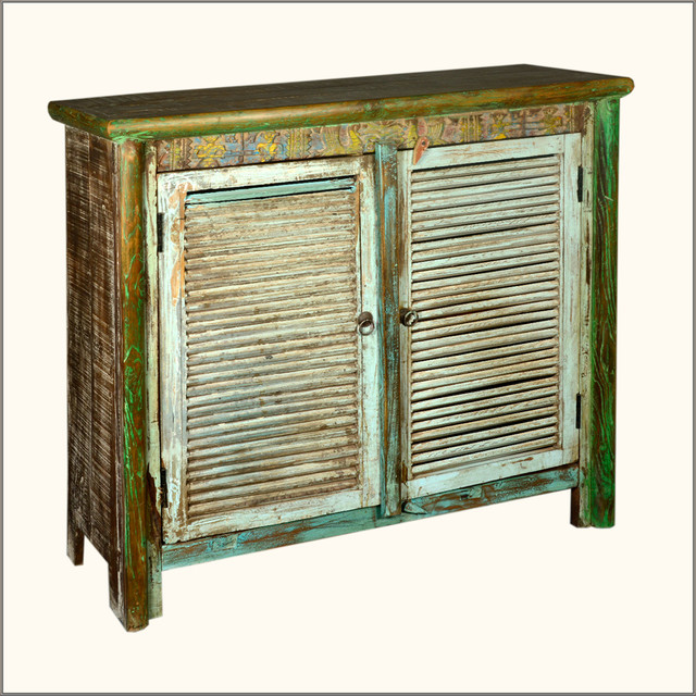 Rustic Shutter Door Distressed Reclaimed Wood Accent Buffet Cabinet - Eclectic - Accent Chests ...
