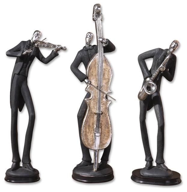 Design sculpture wood sculpture statues sculpture sculpture interior - Musicians Decorative Figurines Set Of 3 Contemporary