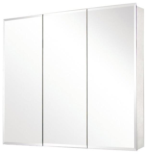 Pegasus SP4589 Tri-View Beveled Mirror Medicine Cabinet, Clear modern-medicine-cabinets