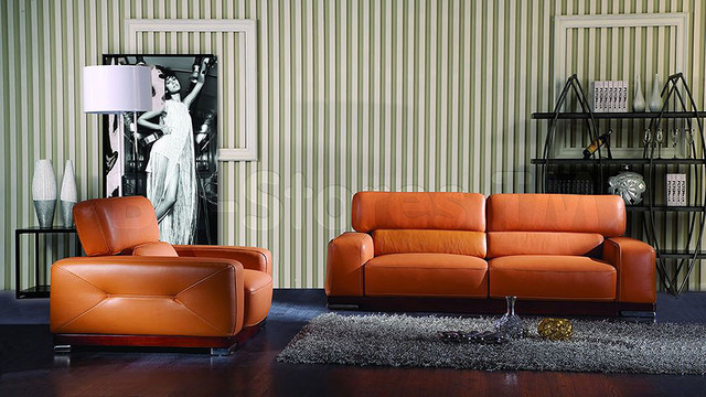 Genuine Italian Leather 2 PC Sofa Set In Orange Finish Sofa And Chair Mod