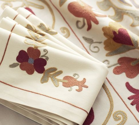 Harvest Suzani Embroidered Napkins - contemporary - napkins - by
