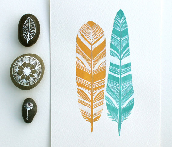 Watercolor Feather Print  artwork