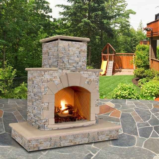 cal flame natural stone 78 in outdoor fireplace frp908 apf contemporary outdoor fireplaces