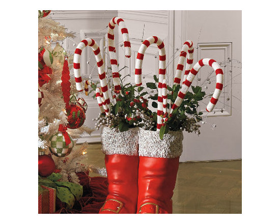 """Grandin Road - Set of Six 16"""" Candy Canes - Red and white striped. Knitted yarn over durable plastic. Easy adornment for trees, garlands, wreaths, and more. Add extra sweetness to your Christmas decor with a set of Giant knit Candy Canes. Place them strategically throughout your tree, on a table, or inside Santa's Boots.  .  .  ."""