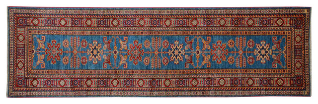 Oriental Super Kazak 100% Wool Tribal Design Hand Knotted Rug Runner Sh15237 traditional-area-rugs