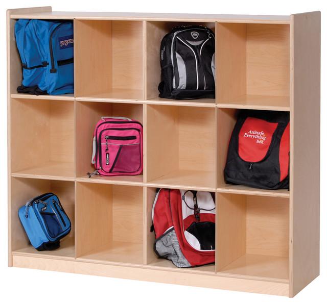 Steffywood 12-Cubby Kids Cabinet Shelves Backpack Storage Rack - Contemporary - Towel Racks ...