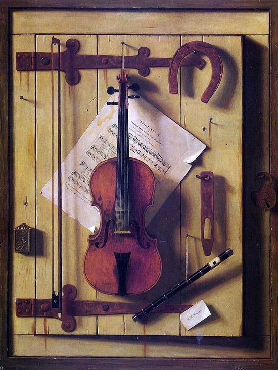 """William Michael Harnett Still Life: Violin and Music (Music Litera Print - 18"""" x 24"""" William Michael Harnett Still Life: Violin and Music (also known as Music Literature) premium archival print reproduced to meet museum quality standards. Our museum quality archival prints are produced using high-precision print technology for a more accurate reproduction printed on high quality, heavyweight matte presentation paper with fade-resistant, archival inks. Our progressive business model allows us to offer works of art to you at the best wholesale pricing, significantly less than art gallery prices, affordable to all. This line of artwork is produced with extra white border space (if you choose to have it framed, for your framer to work with to frame properly or utilize a larger mat and/or frame).  We present a comprehensive collection of exceptional art reproductions byWilliam Michael Harnett."""