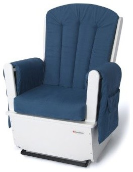 Foundations SafeRocker SS Swivel Glider Rocker - White/Blue modern-furniture