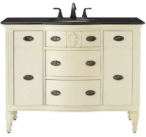 Wellington Wide Vanity 35 Hx44 Wx22 D Distressed White Traditional Bathroom Vanities And