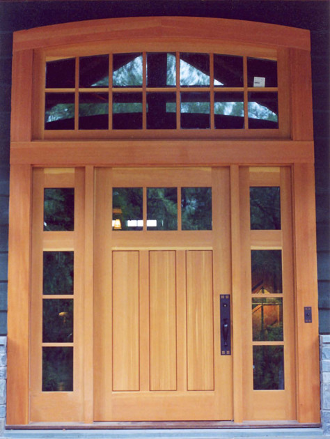 Custom entry door with sidelights and transom for Transom windows exterior
