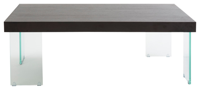 Euro Style Cabrio Collection Coffee Table Glass in Clear/Wenge modern-coffee-tables