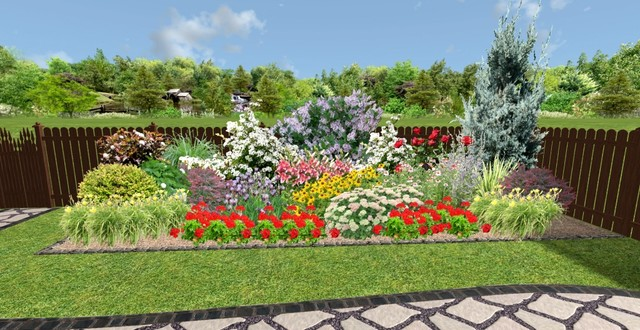 Sunny border garden design Traditional Rendering