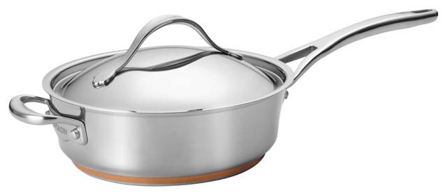 Anolon Nouvelle Copper Stainless Steel 3 Quart Covered Saute Pan contemporary-saute-pans