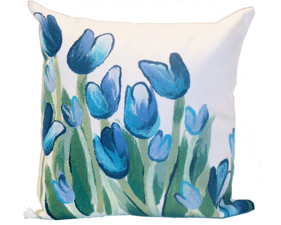 """Trans-Ocean Outdoor Pillows - Trans-Ocean Liora Manne Allover Tulips Blue - 20"""" x 20"""" - Designer Liora Manne's newest line of toss pillows are made using a unique, patented Lamontage process combining handmade artistry with high tech processing. The 100% polyester microfibers are intricately structured by hand and then mechanically interlocked by needle-punching to create non-woven textiles that resemble felt. The 100% polyester microfiber results in an extra-soft hand with unsurpassed durability."""