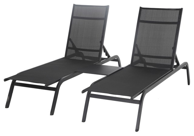 silba metal sunlounger pack of 2 with table contemporary. Black Bedroom Furniture Sets. Home Design Ideas