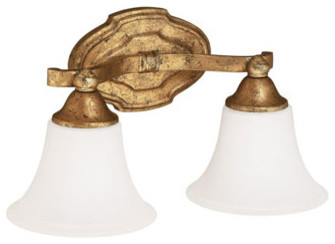 Blakely Antique Gold Two Light Vanity Fixture Traditional Bathroom Lighti