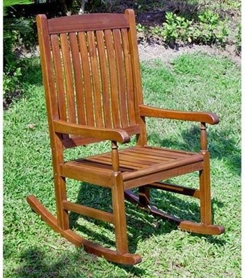 International Caravan Traditional Stained Acacia Wood Slat Rocking Chair modern-rocking-chairs