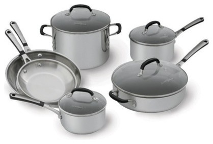 Simply Stainless Steel 10-Piece Cookware Set modern-cookware