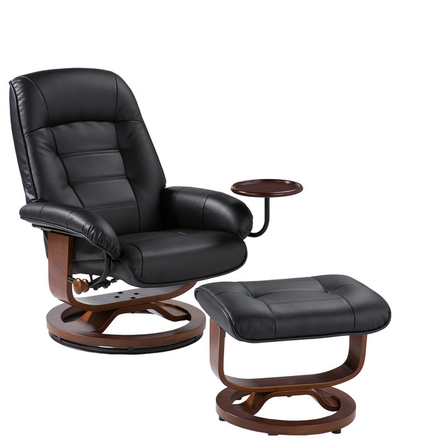 Contemporary Reclining Chairs : Leather Recliner and Ottoman, Black - Contemporary - Recliner Chairs ...