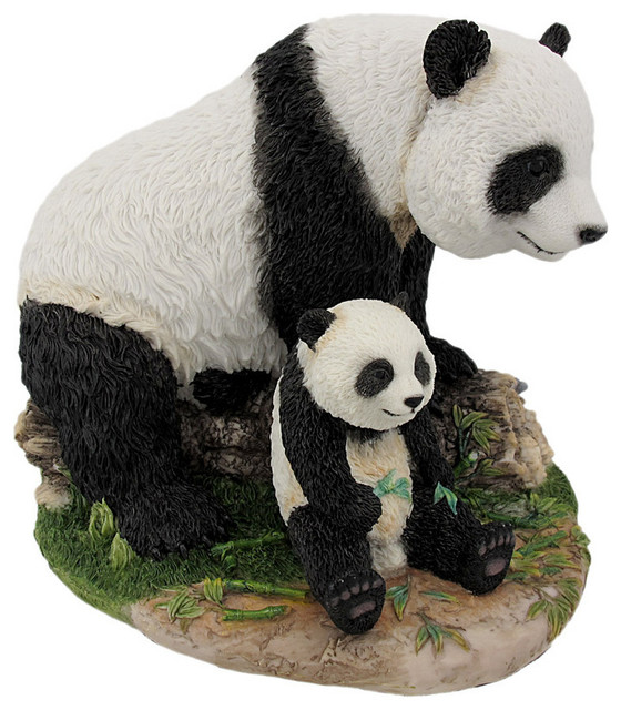 Mother and child panda bear statue baby animal for Panda bear decor