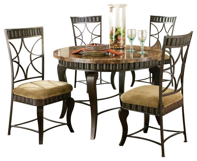 Steve silver hamlyn 5 piece marble top 44 inch round for 44 inch round dining table