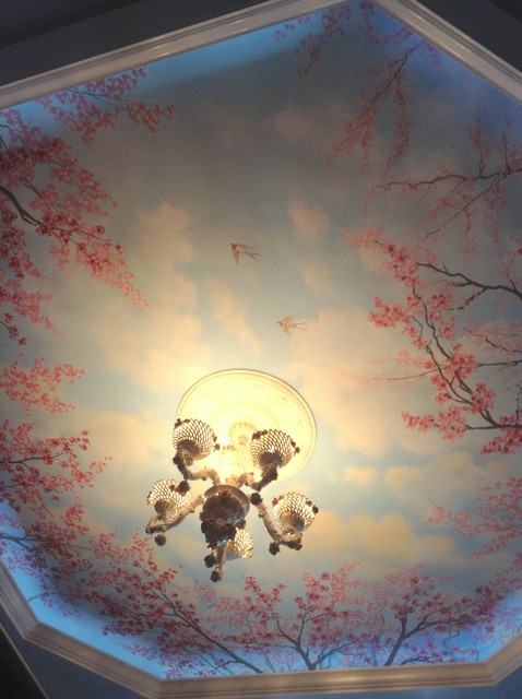 Cherry blossom trees ceiling mural by tom taylor of wow for Cherry blossom tree mural