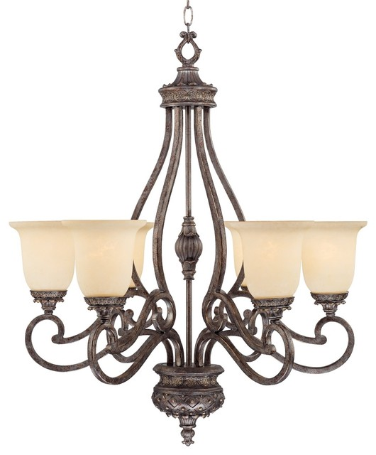 """Iron Detailed Accents 27"""" Wide Scavo Glass Pewter Chandelier traditional-chandeliers"""