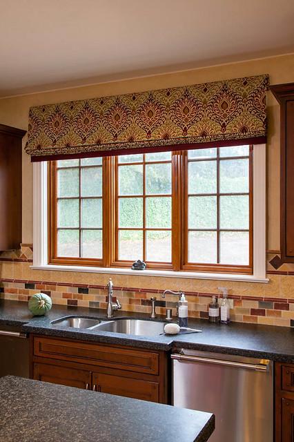 Kitchen Window coverings Mediterranean Roman Shades