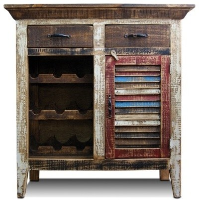 Rustic Distressed Reclaimed Wood Wine Cabinet With Wine Rack And Shuttered Door Rustic Wine