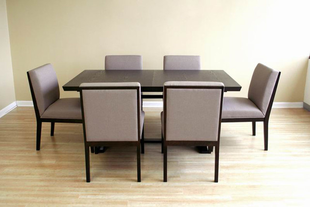 Modern extendable wooden furniture dining set modern for Contemporary dining set